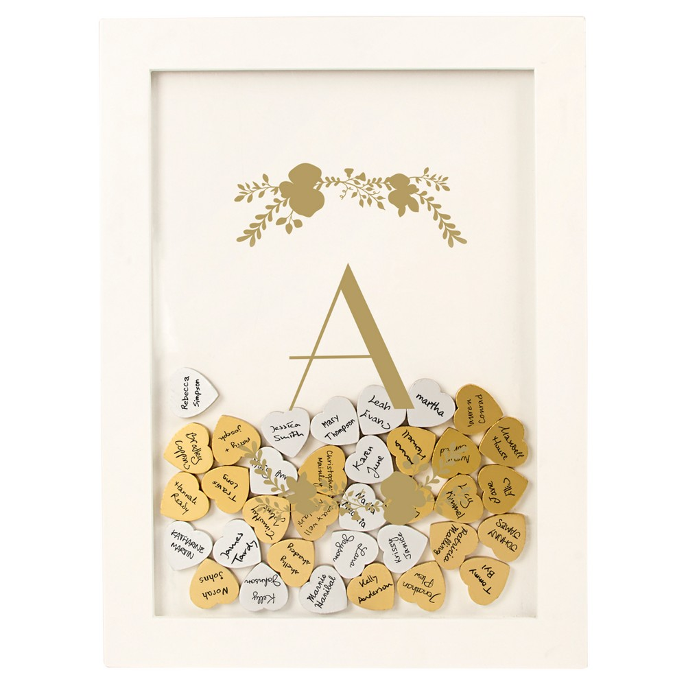"Image of """"""A"""" Guestbook Dropbox Floral Gold, White - A"""