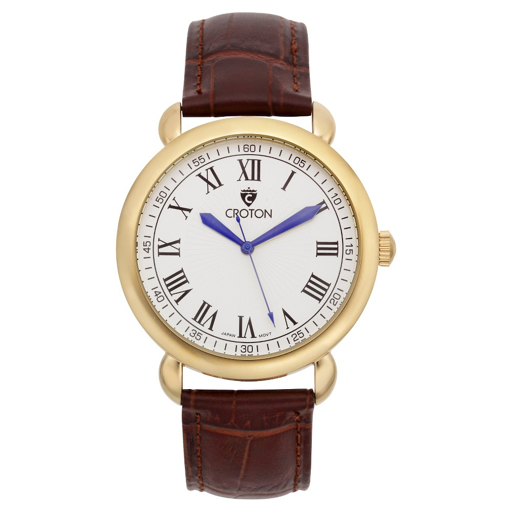 Men's Croton Analog Watch - Brown with White Dial