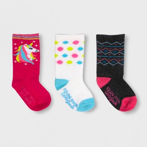 Baby Girls' 3pk Unicorn Crew Socks - Cat & Jack™ Pink 12-24M - image 1 of 2