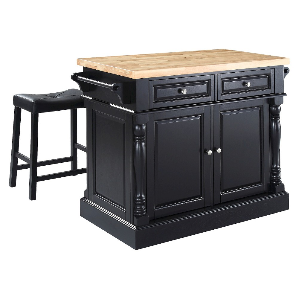 Butcher Block Top Kitchen Island - Black with 24 Black Upholstered Saddle Stools - Crosley