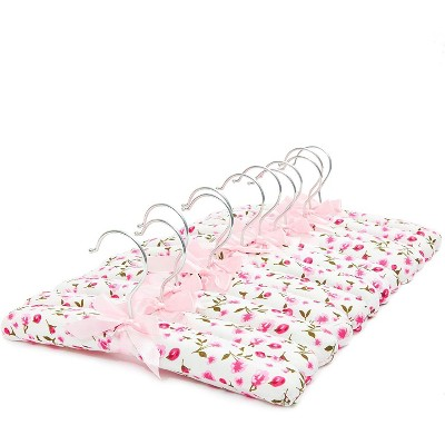 "Juvale 12-Pack 13"" Pink Floral Satin Padded Clothes Kids Hangers Soft Fabric for Sweater Coat Nursery"