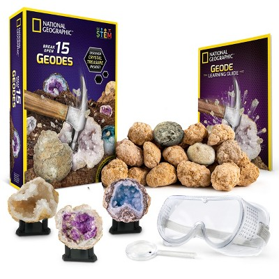 NATIONAL GEOGRAPHIC Break Open 15 Premium Geodes, Includes Goggles, Detailed Learning Guide, 3 Display Stands, STEM Science Toy & Educational Gift