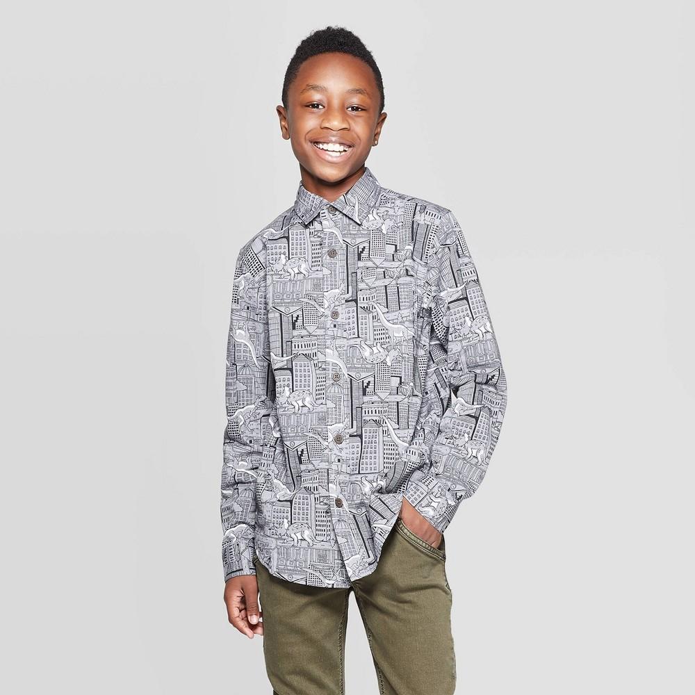 Image of Boys' Long Sleeve Button-Down Shirt - Cat & Jack Blue XXL, Boy's, Gray
