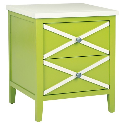 Sherrilyn Side Table With Drawers Lime Green - Safavieh® - image 1 of 7