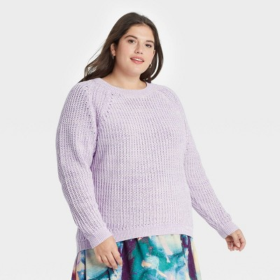 Women's Plus Size Crewneck Pullover Sweater - Ava & Viv™