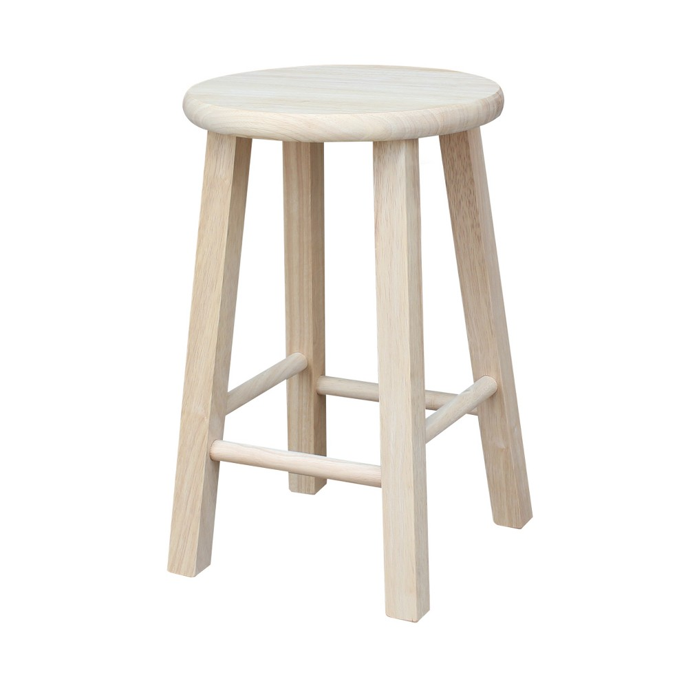 "Image of ""18"""" Round Stool Hardwood Natural - International Concepts"""
