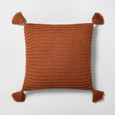 "18"" x 18"" Chunky Knit Throw Pillow Pumpkin Brown - Hearth & Hand™ with Magnolia"