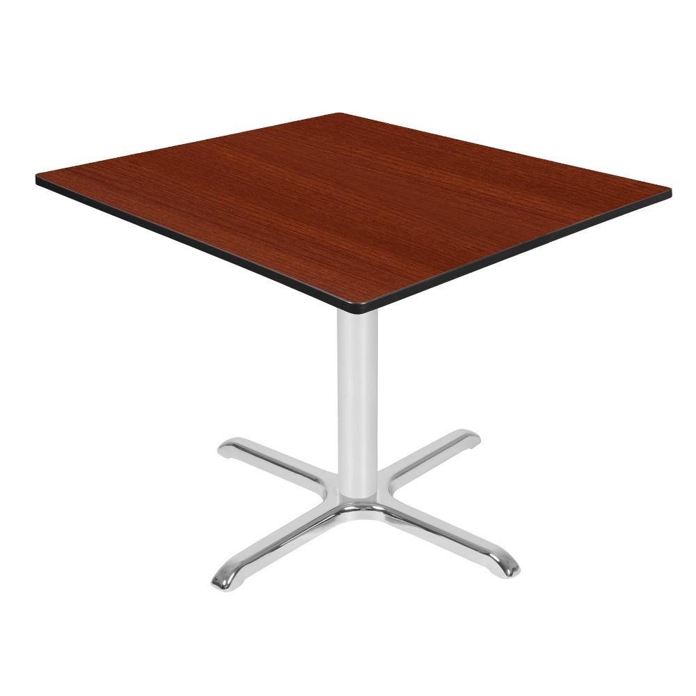 42 Via Square X - Base Table Cherry/Chrome (Red/Grey) - Regency