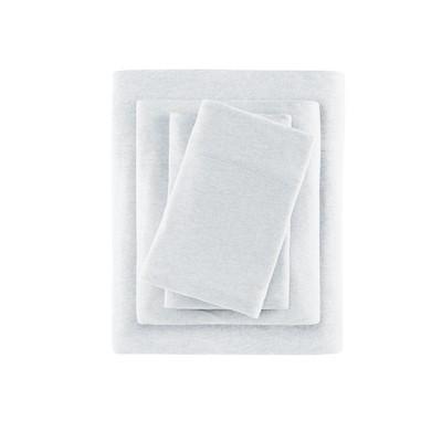 Heathered Cotton Jersey Knit Sheet Set King Light Gray