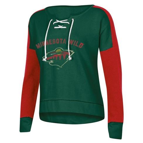 NHL Minnesota Wild Women s Warming House Open Neck Fleece Sweatshirt ... 2eb6015f1e