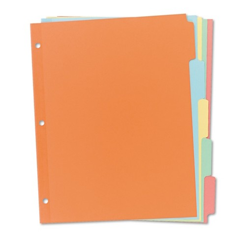 Avery® 11 x 8-1/2 Write-On Plain Tab Dividers, Five Multicolor Tabs- Salmon (36 Sets) - image 1 of 3