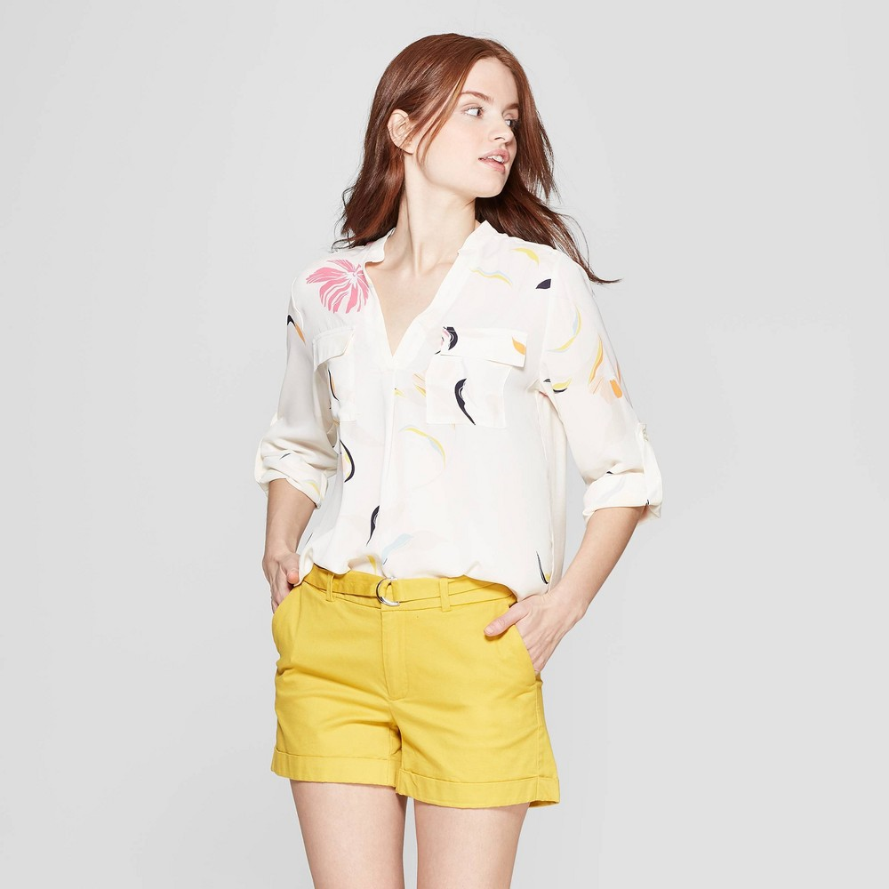Women's Floral Print Long Sleeve V-Neck Utility Popover Shirt - A New Day Cream XS, Beige