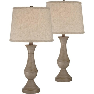Regency Hill Traditional Table Lamps Set of 2 with USB Port LED Touch On Off Faux Wood Beige Living Room Bedroom House Nightstand