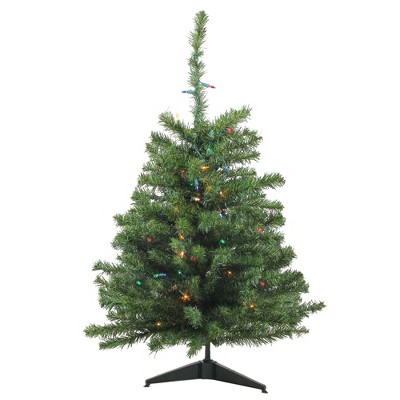 Northlight 3' Prelit Artificial Christmas Tree Canadian Pine - Multicolor Lights