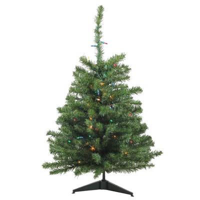 Northlight 3' Prelit Artificial Christmas Tree Canadian Pine - Multicolor Lights