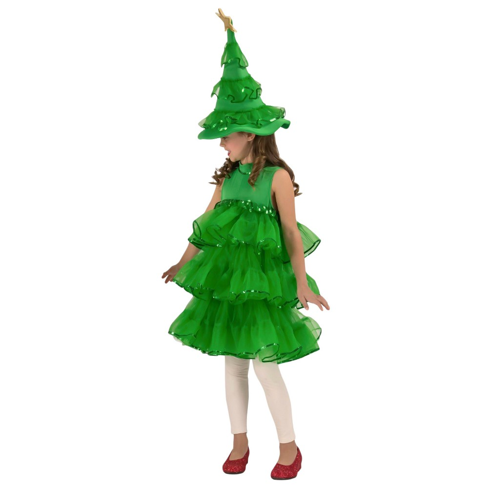 Girls' Glitter Christmas Tree Costume M(8-10), Multicolored
