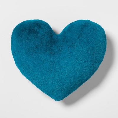 Heart Faux Fur & Velvet Throw Pillow Teal - Pillowfort™