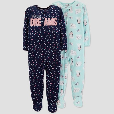 Baby Girls' Fleece Dot Penguin Pajama Set - Just One You® made by carter's Black 12M
