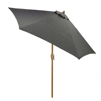 9' Round Umbrella - Charcoal - Wood Pole - Threshold™