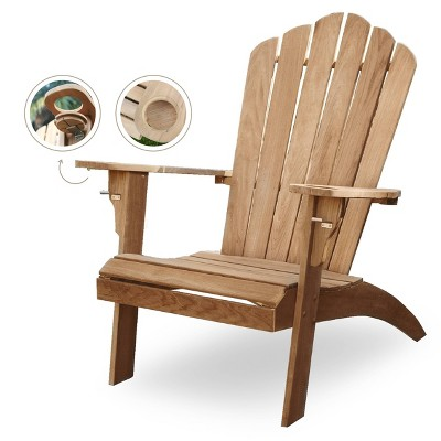 Sherwood Oversized Adirondack Chair with Cup Holder - Teak - Cambridge Casual