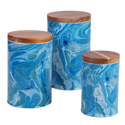 3pc Earthenware Fluidity Canister Set - Certified International