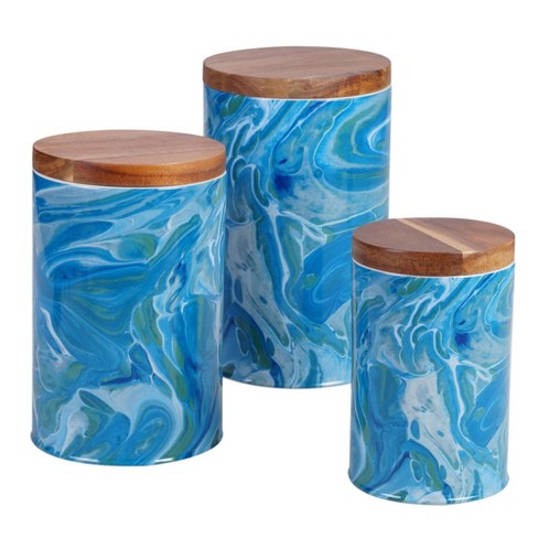 3pc Earthenware Fluidity Canister Set - Certified International - image 1 of 2