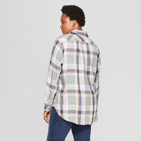d527ce34a0ea7c Women s Plus Size Plaid No Gap Button-Down Long Sleeve Shirt - Ava   Viv™  Lavender 4X   Target