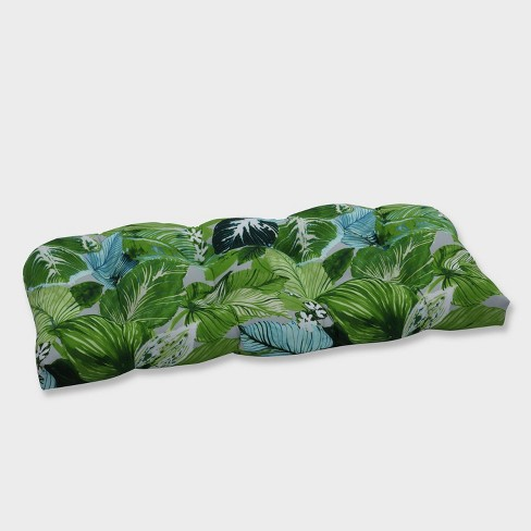 Lush Leaf Jungle Wicker Outdoor Loveseat Cushion Green - Pillow Perfect - image 1 of 1