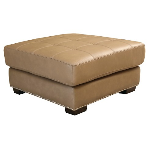 Avery Leather Ottoman Beige - Abbyson Living - image 1 of 2