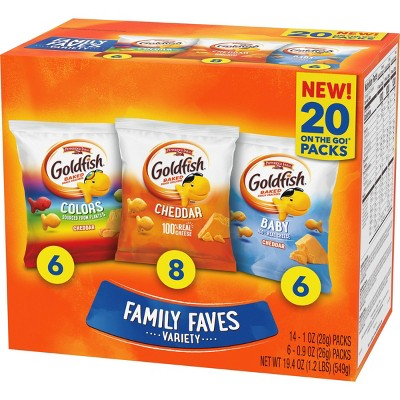Goldfish Crackers Family Faves Variety Pack - 19.4oz/20ct