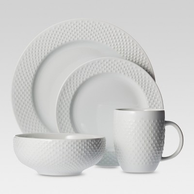 16pc Dinnerware Set White Beaded Rim - Threshold™