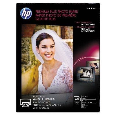HP Premium Plus Photo Paper 80 lbs. Glossy 5 x 7 60 Sheets/Pack CR669A
