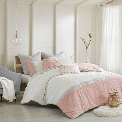 7pc Full/Queen Kira Cotton Jacquard Comforter Set Blush