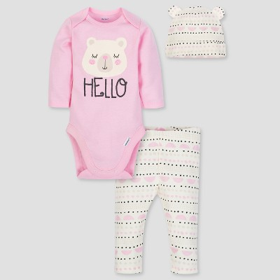 Gerber Baby Girls' 3pc Long Sleeve Bodysuit Cap and Pants Set - Pink/White 0-3M