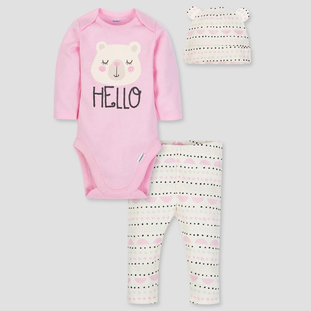 Gerber Baby Girls' 3pc Long Sleeve Bodysuit Cap and Pants Set - Pink/White 0-3M