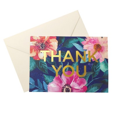 24ct Tropical Floral Blank Thank You Cards