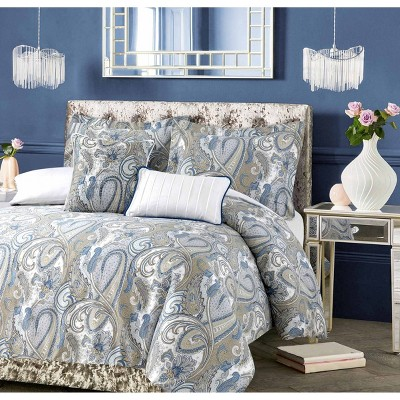 Paisley Park 300 Thread Count Cotton 5pc Oversized Duvet Cover Set - Tribeca Living