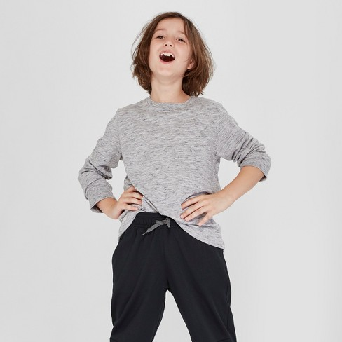 Boys' Long Sleeve T-Shirt - Cat & Jack™ Gray S - image 1 of 3