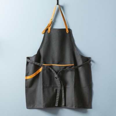 Waxed Canvas & Leather Utility Grill Apron Dark Gray - Hearth & Hand™ with Magnolia