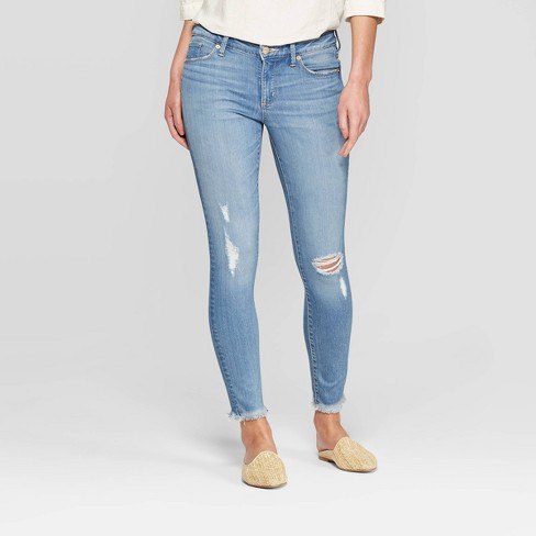 Women's Mid-Rise Distressed Skinny Jeans - Universal Thread™ Light Wash - image 1 of 3