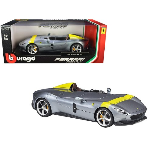 Ferrari Monza Sp1 Silver Metallic With Yellow Stripes 1 18 Diecast Model Car By Bburago Target