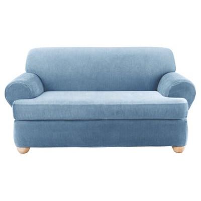 2pc Stretch Stripe T Cushion Sofa Slipcover 42 X40 X96 Sure Fit