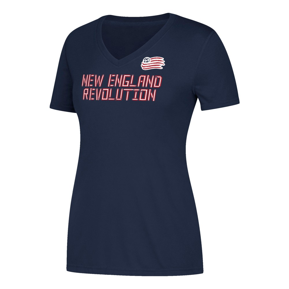 Women's Short Sleeve On the Pitch V-Neck T-Shirt New England Revolution L, Multicolored