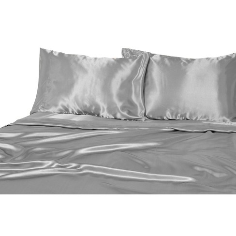 Luxury Satin 100 Polyester Woven Sheet Set Queen Silver