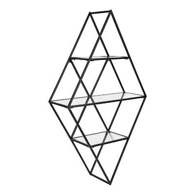 """18.5"""" x 32"""" Kailynn Geometric Metal and Glass Wall Shelf Black - Kate & Laurel All Things Decor"""