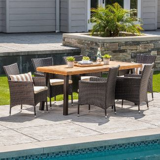 Tustin 7pc Acacia Wood and Wicker Dining Set Brown/Beige - Christopher Knight Home