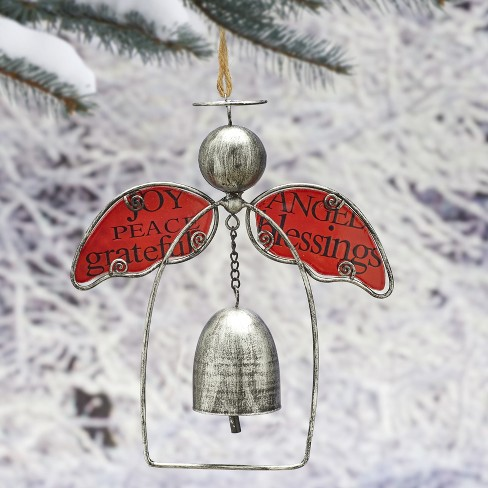 Lakeside Angel Bell Christmas Ornament With Holiday Blessings Vintage Look Red Target