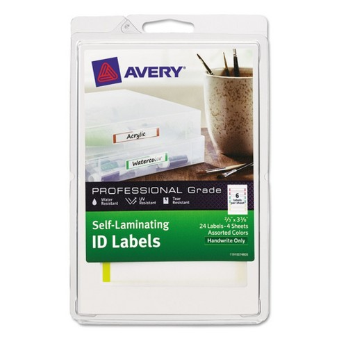 Avery® Professional Grade Self-Laminating ID Labels, 3 3/8 x 2/3, White/Assorted, 24/Pack - image 1 of 2