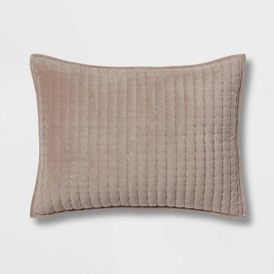 Standard Velvet Solid Quilt Sham Light Brown - Threshold™