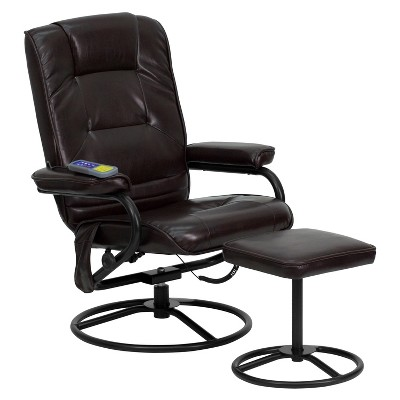 Flash Furniture Massaging Multi-Position Recliner and Ottoman with Metal Bases in Brown LeatherSoft